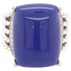 David Yurman Estate Silver Lapis Lazuli Diamond Ring 12.4 Grams