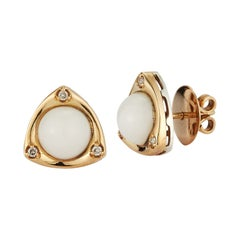 Parulina White Coral Earrings in 18K Yellow Gold