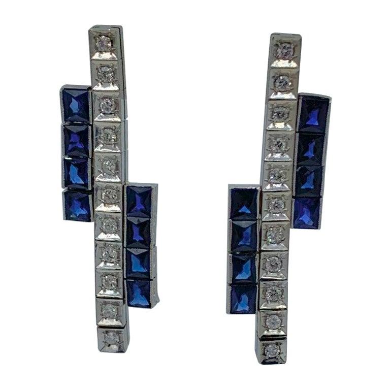 Art Deco Sapphire Diamond Dangle Drop Earrings Articulated 14 Karat White Gold