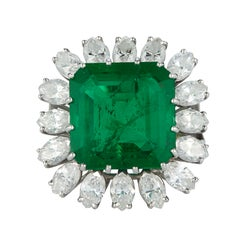 Columbian 8.30ct Emerald and Diamond Ring in 18K White Gold