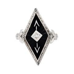 Art Deco Diamond Onyx 14 Karat White Gold Navette Dinner Ring