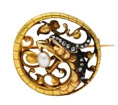 French Art Nouveau Diamond Pearl Silver 18 Karat Gold Basilisk Dragon Brooch