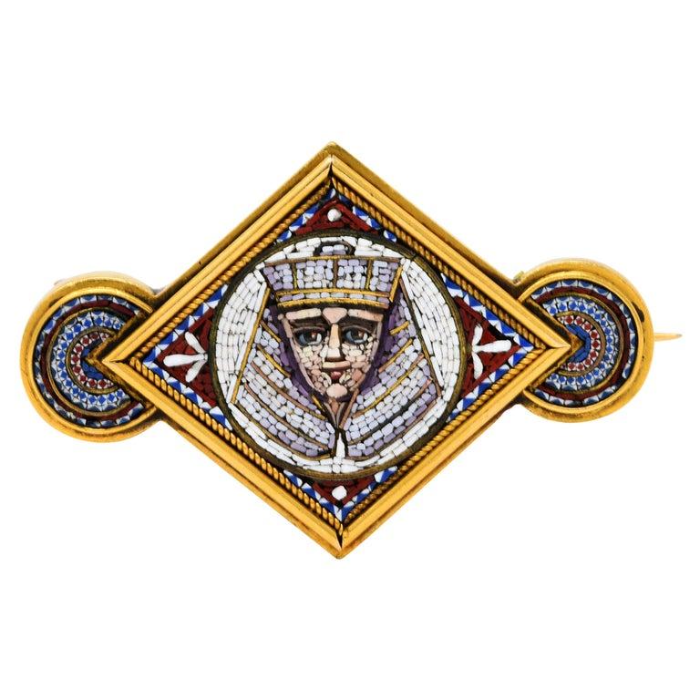 Egyptian Revival Micro Mosaic 18 Karat Gold Pharaoh Brooch For Sale