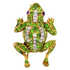 Edwardian 4.35 Carats Demantoid Garnet Diamond Platinum 18 Karat Gold Frog Pin