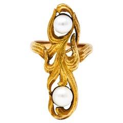 Arts & Crafts Pearl 14 Karat Gold Whiplash Foliate Ring