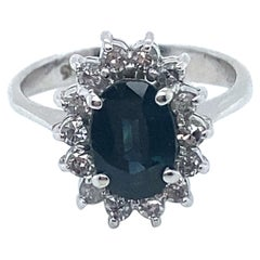Vintage 14K White Gold Diamond and Sapphire Halo Engagement Ring, 1.92ct