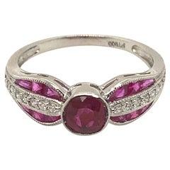 Art Deco Platinum Diamond and Ruby Ring Engagement Ring Wedding Ring, 1.55ct
