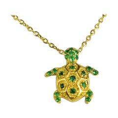 10k 14k 18k Gold Emerald Turtle Necklace Turtle Charm Necklace