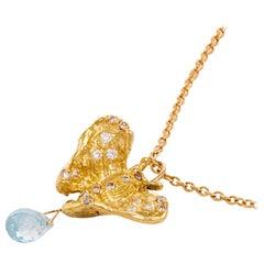 18Karat Yellow Gold Light Blue Topaz 0.80 Karat White Diamond Butterfly Necklace
