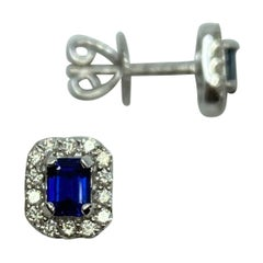 Fine Blue Ceylon Sapphire Diamond 18k White Gold Emerald Cut Earring Halo Studs