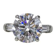 GIA Certified 5 Carat Round Brilliant Cut Diamond Ring