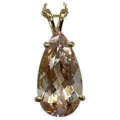 8.57 Carat Peach Pink Morganite Pear Teardrop Cut Yellow Gold Pendant Necklace