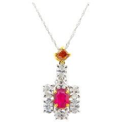 GIA Certified Burma No Heat Ruby and Fancy Deep Yellowish Orange Diamond Pendant
