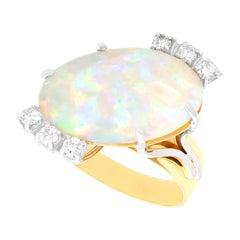 1960s Vintage 5.81 Carat Opal and 0.30 Carat Diamond Yellow Gold Dress Ring