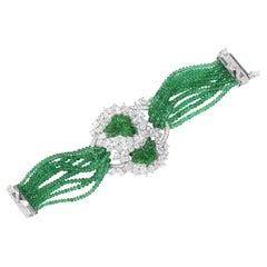 David Morris Carved Emerald 146.18ct & Diamond 25.83ct GIA Certified Bracelet