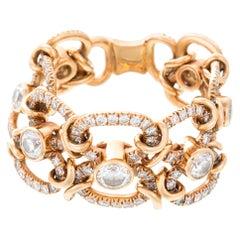 David Morris Heritage 18 Karat Rose Gold Flexi Oval Link Diamond Ring