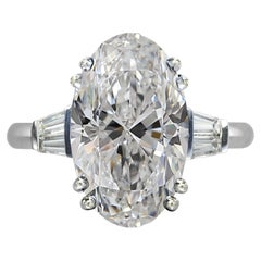 GIA Certified 2.50 Ct F Color Oval Cut Diamond 18kt White Gold Ring