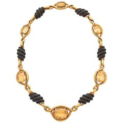 David Webb Enamel Citrine Gold Necklace