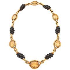 David Webb Enamel Citrine Gold Necklace