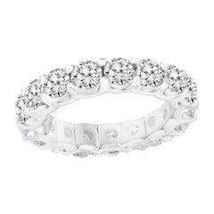 4.01 Carat Diamond Eternity Wedding Ring in 14k White Gold