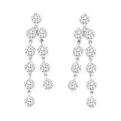 5.01 Carat Diamond Chandelier Earrings in 14k White Gold