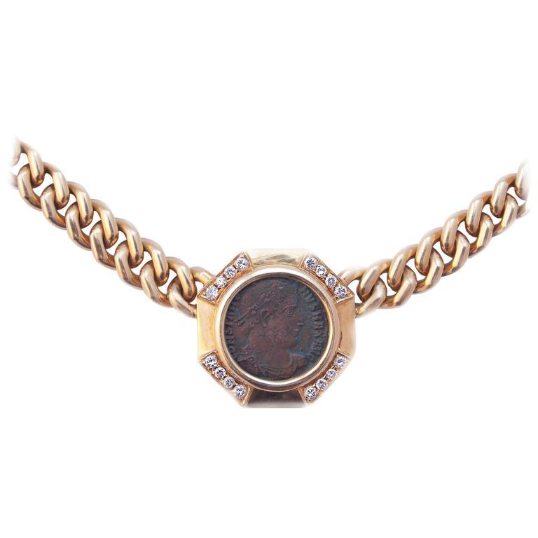 Bulgari Ancient Coin Gold Monete Necklace