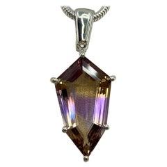 8.23 Carat Rare Natural Ametrine Fancy Shield Cut Silver Pendant Necklace