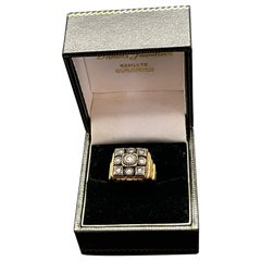 Victorian Rose Cut Diamonds Gold and Silver Mens Ring