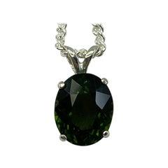 2.80 Carat Deep Green Tourmaline Oval Cut Pendant Necklace
