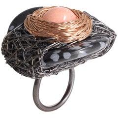 Statement Bi-Colour Black Silver & 14k Rose GF Snowflake Obsidian Cocktail Ring