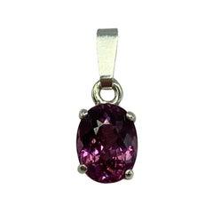 1.83 Carat Vivid Pink Purple Garnet Oval Cut Solitaire Pendant Necklace