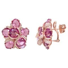 18 Karat Rose Gold 19.31 Carat Pink Sapphire and Diamond Cocktail Stud Earrings