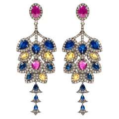 15.32 Carat Sapphire,Diamond,and Ruby Dangle Cocktail Earrings in Art Deco Style