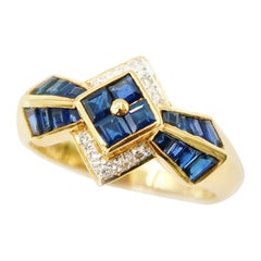 Simplified Polygon Floral Baguette Blue Sapphire Diamond 18K Yellow Gold Ring