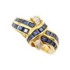 Baguette Deep Blue Sapphire Diamond Friendship Knot 18K Yellow Gold Ring