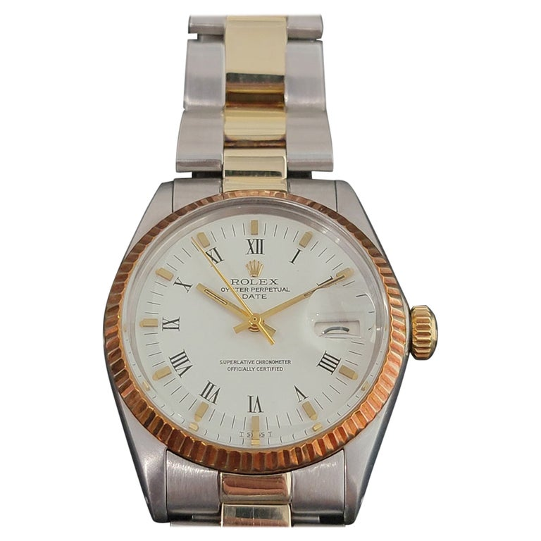 Mens Rolex Oyster Perpetual Date 1500 Gold ss Automatic 1970s Swiss RA164 For Sale