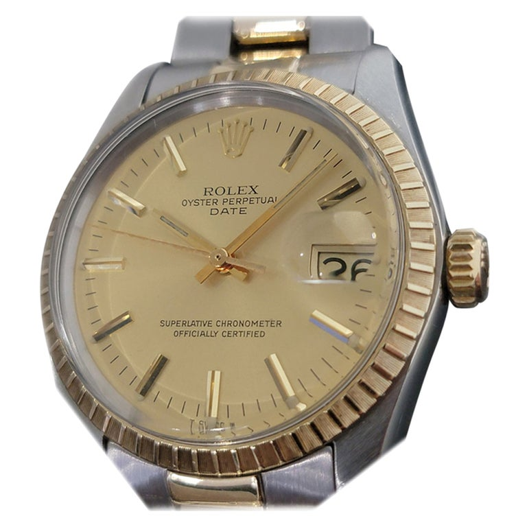 Mens Rolex Oyster Perpetual Date 1505 14k Gold ss Automatic 1970s RA165 For Sale