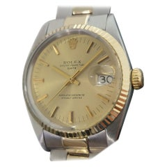 Mens Rolex Oyster Date 1500 14k Gold ss Automatic 1960s w Pouch RA166