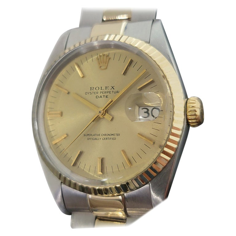 Mens Rolex Oyster Date 1500 14k Gold ss Automatic 1960s w Pouch RA166 For Sale