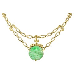 1920's Art Deco Carved Jade 14 Karat Yellow Gold Swag Necklace