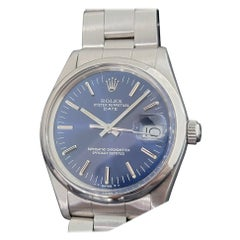 Mens Rolex Oyster Perpetual Date 15000 Automatic Blue Dial 1980s RA167