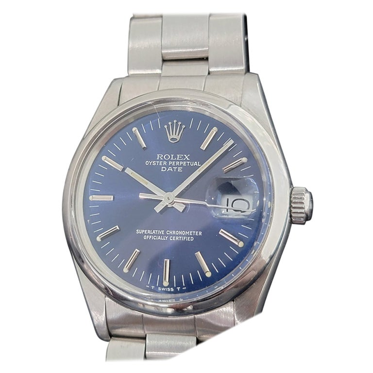 Mens Rolex Oyster Perpetual Date 15000 Automatic Blue Dial 1980s RA167 For Sale