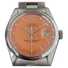 Mens Rolex Oyster Perpetual Date 1500 1970s Orange Dial Automatic RA175