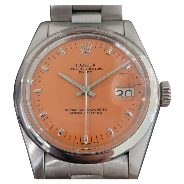 Mens Rolex Oyster Perpetual Date 1500 1970s Orange Dial Automatic RA175 For Sale