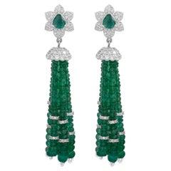 59.35 Carat Emerald Diamond 18 Karat Gold Tassel Earrings