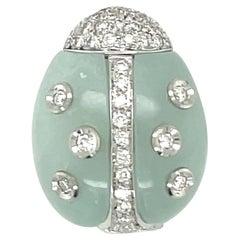 Garavelli 18KT White Gold Lady Bug Brooch 0.33Ct Diamond & Aquamarine