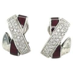 La Nouvelle Bagues 18kt White Gold X Motif Diamond and Enamel Earring