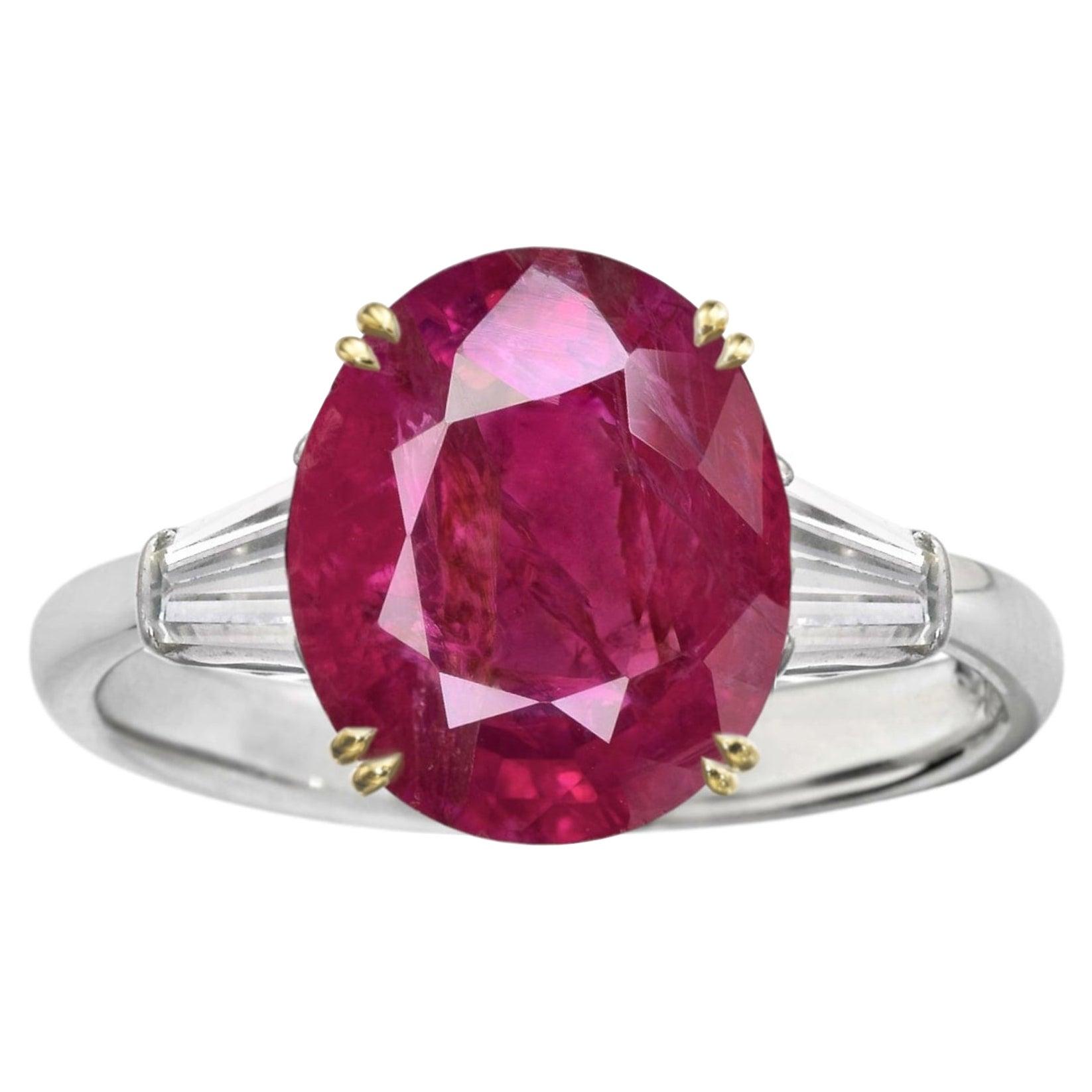 Burma Red No Heat Cushion Cut 4.50 Carat Ruby Diamond Ring