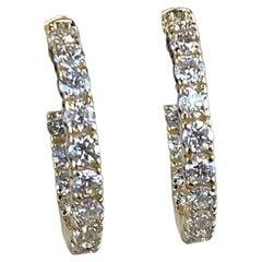Diamond Hoop Earrings 3.26 Carats Yellow Gold