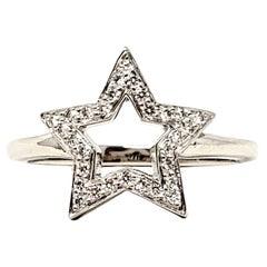 Tiffany & Co. Round Brilliant Pave Diamond Star Symbol Band Ring in Platinum